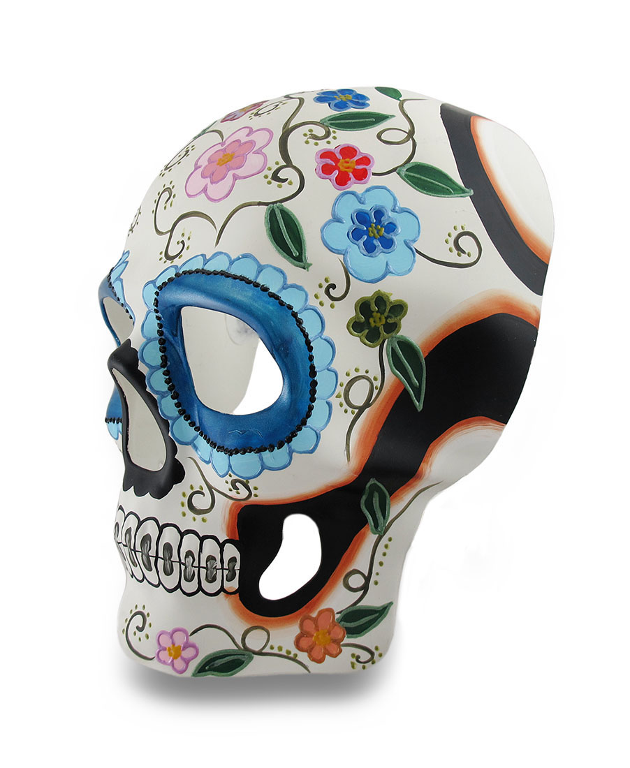 Colorful White and Blue Floral DOD Sugar Skull Style Halloween Mask ...
