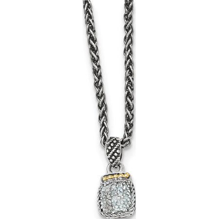 14k/Silver Two-Tone Sterling Silver w/ Diamond Necklace - image 2 of 2