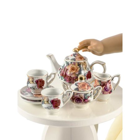 The Queen's Treasures Antique Rose Fine China Service for Two Tea Set, Kitchen Dish Accessory for 18