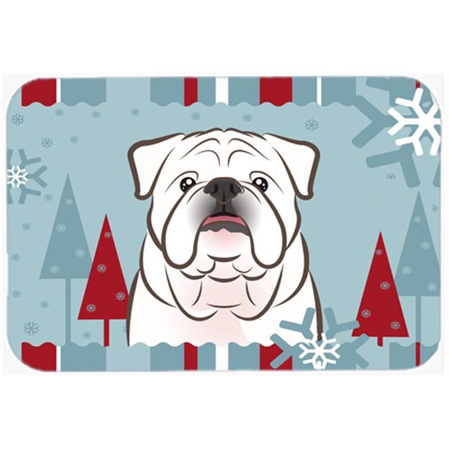 Winter Holiday White English Bulldog Mouse Pad, Hot Pad & Trivet
