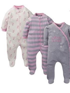 Gerber Baby Girl Organic Cotton Zip-Up Sleep 'N Play Pajamas, 3-Pack