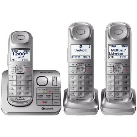 Panasonic Link2Cell Cordless Phone with Comfort Shoulder Grip and Answering Machine, 3 Handsets (Cell Phone Panasonic)