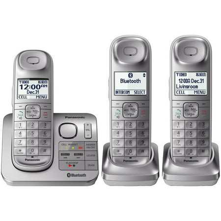 Panasonic Link2Cell Cordless Phone with Comfort Shoulder Grip and Answering Machine, 3