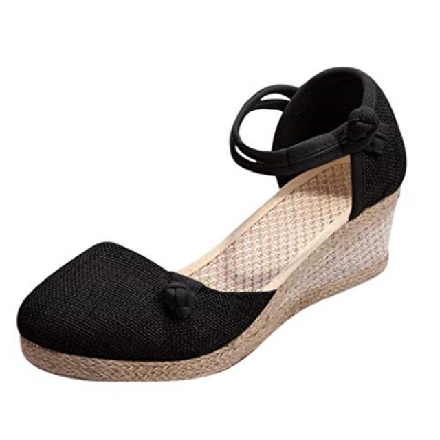 HENWERD Womens Casual Espadrilles Trim Rubber Sole Flatform Studded Wedge Sandals