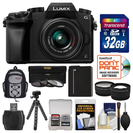 Panasonic Lumix DMC-G7 4K Wi-Fi Digital Camera + 14-42mm Lens (Black) with 32GB Card + Backpack + Battery + Flex Tripod + Filters + Tele/Wide Lens (Panasonic Lumix Dmc Lx100 Digital Camera Silver)
