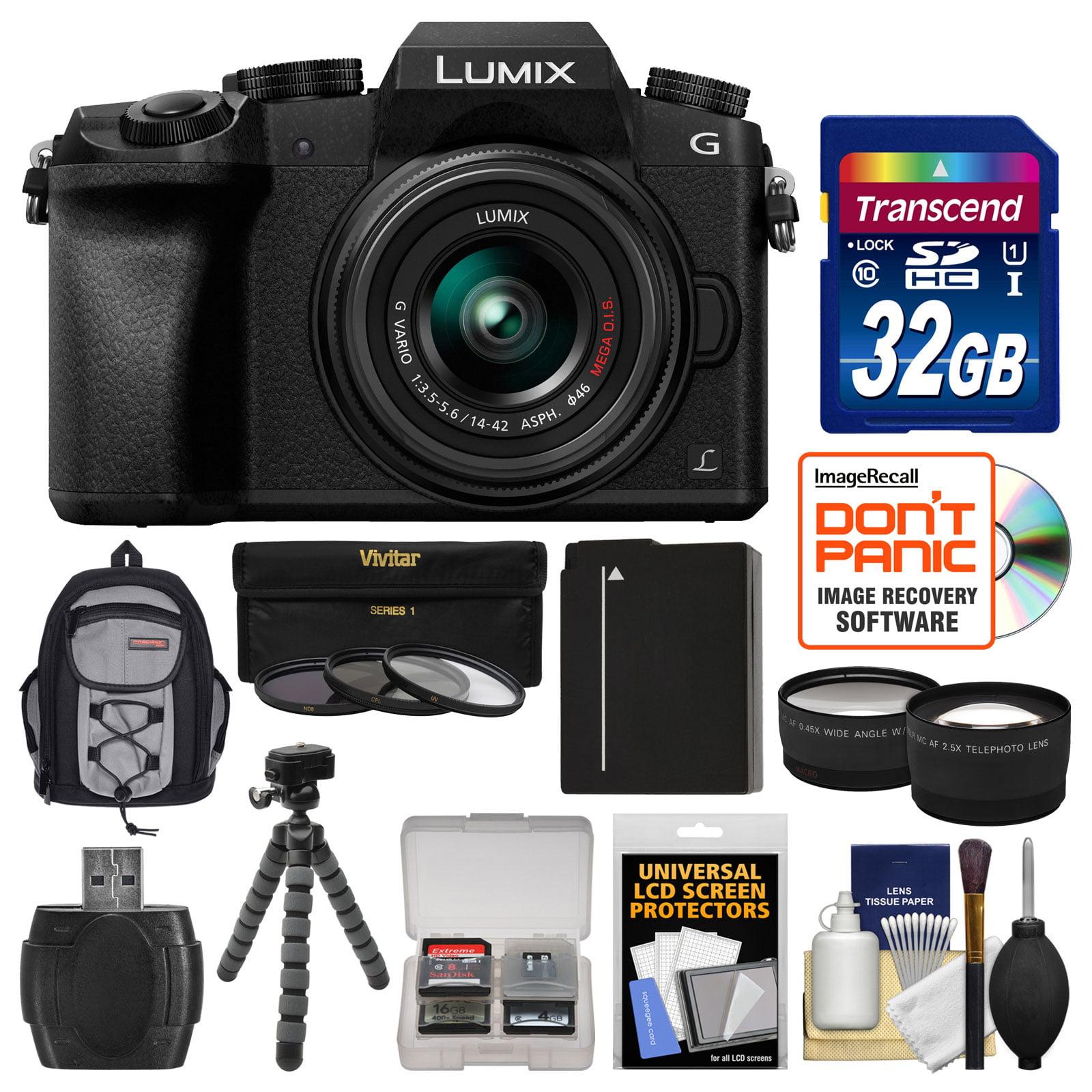 Panasonic Lumix DMC-G7 4K Wi-Fi Digital Camera & 14-42mm Lens (Black) with 32GB Card + Backpack + Battery + Flex Tripod + Filters + Tele/Wide Lens Kit