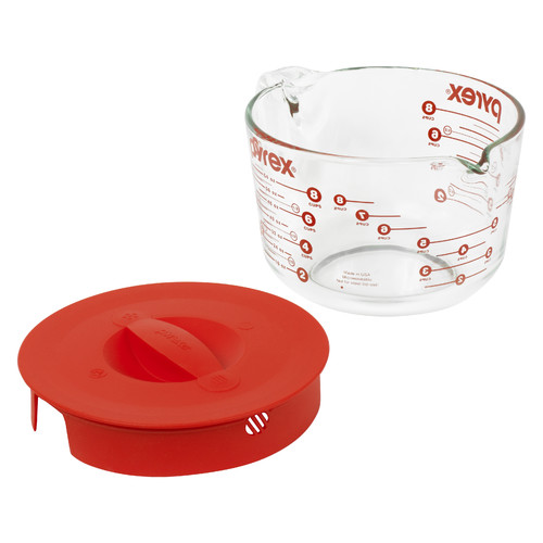 Pyrex Prepware 8 Cup Measuring Cup with Red Plastic Cover in Clear