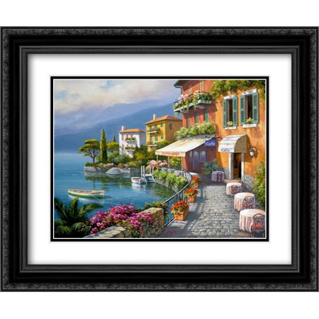 Seaside Bistro Cafe 2x Matted 24x20 Black Ornate Framed Art Print by Kim, - Seaside Cafe