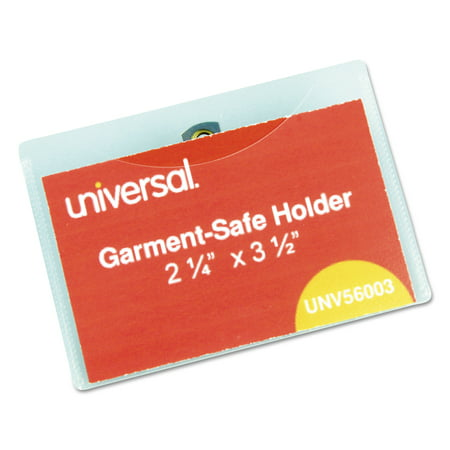 Universal Clear Badge Holders w/Garment-Safe Clips, 2 1/4 x 3 1/2, White Inserts, 50/Box -UNV56003