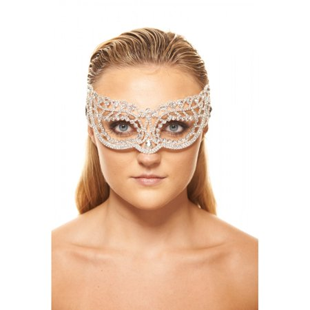 KAYSO INC CM016 LAVISH COLLECTION WHITE CRYSTAL RHINESTONE MASQUERADE MASK](White Mask For Sale)
