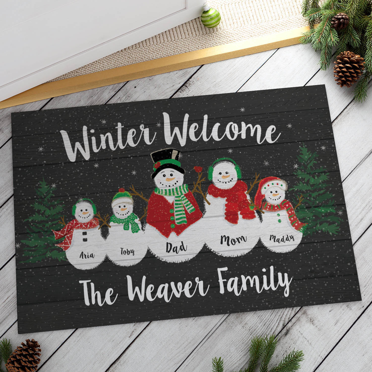 Personalized Doormat - Winter Welcome Family