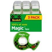 Scotch Magic Tape Dispensers, Clear, 3/4 in. x 300 in., 3 Dispensers