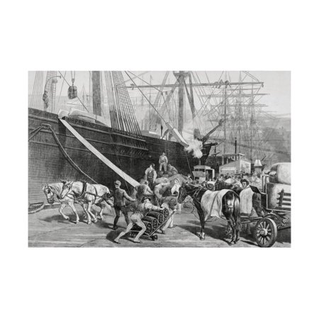 - Dock Workers Loading Horse Drawn Goods to Ship Print Wall Art