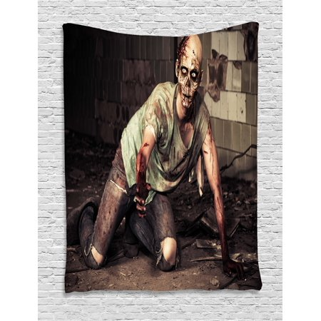 Zombie Tapestry, Halloween Scary Dead Man in the Old Building with Bloody Head Nightmare Theme, Wall Hanging for Bedroom Living Room Dorm Decor, Grey Mint Peach, by - Office Halloween Theme Decor