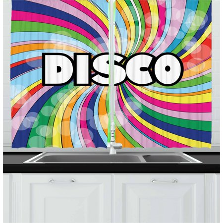 Vintage Rainbow Curtains 2 Panels Set, Eighties Style Disco Advertisement with Swirled Spiral Colorful Stripes, Window Drapes for Living Room Bedroom, 55W X 39L Inches, Multicolor, by - Disco Stripe