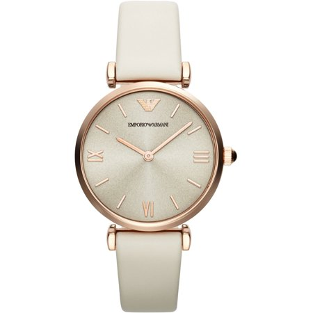 Emporio Armani Women's Gianni T-Bar Rose Gold Leather Strap Watch