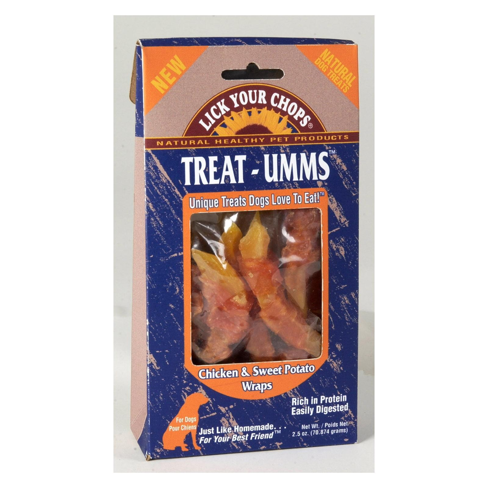 Lick Your Chops Treat - Umms Dog Treats - Chicken And Sweet Potato - Pack of 6 - 2.5 Oz.