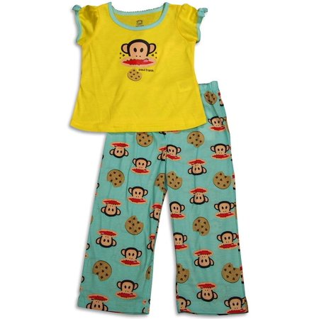 Paul Frank - Little Girls Long Sleeve Monkey Pajamas AQUA COOKIE / (Paul Frank Com)