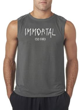 Trendy USA 1222 - Men's Sleeveless Immortal So Far Stayin Alive Funny Humor Small Charcoal