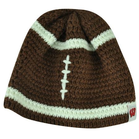 Crochet Winter Beanie - NCAA Wisconsin Badgers Mimi Football Infant Crochet Knit Beanie Brown Hat Winter