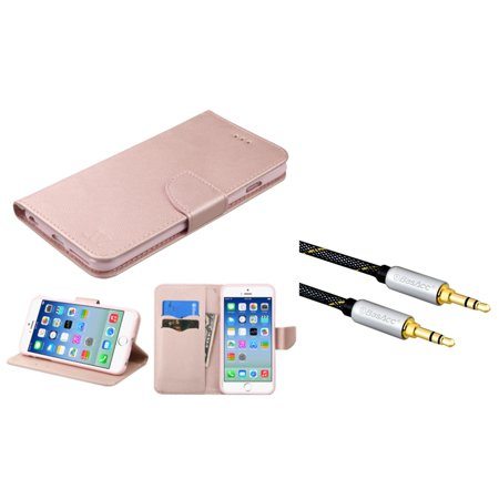 Insten Wallet Leather Fabric Case with card slot For Apple iPhone 6 / 6s - Rose Gold (+ 3.5mm Audio Cable M/M)