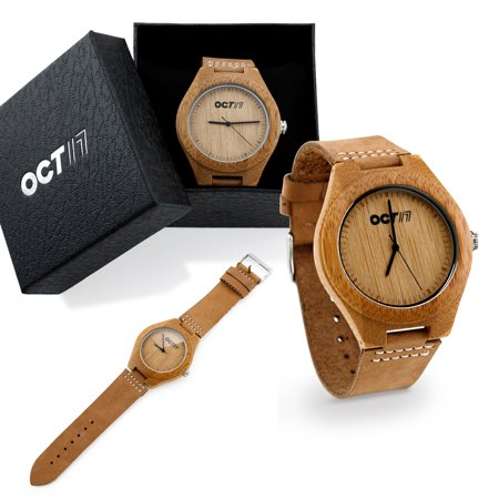Luxury Men's Walnut Wood Fashion Bamboo Wooden Watch Quartz Genuine Leather Japanese Quartz Movement Casual Wristwatches - Nature Wood
