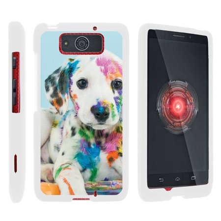 Motorola Droid Ultra XT1080 | Droid Maxx XT1080-M, [SNAP SHELL][White] Hard White Plastic Case with Non Slip Matte Coating with Custom Designs - Colorful Puppy (Droid Razr M Case Infinity)