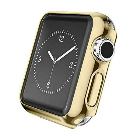 Case Compatible Apple Watch Series 3, Shock Proof Protective Silicone Bumper Resistant TPU Protector Case Cover Replacement for Apple Watch Series 3 (Gold, 42mm)