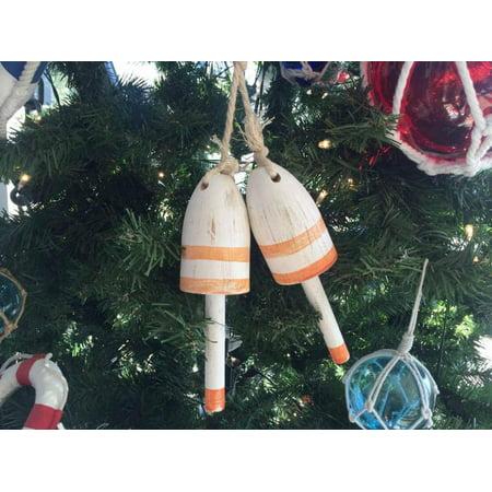 Set of 2 - Wooden Vintage Orange Maine Decorative Lobster Trap Buoy Christmas Ornament 7