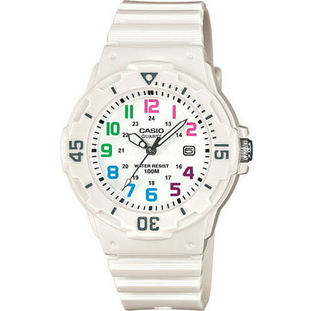 (Casio LRW200H-7BV Women's White Resin Band 100M Sports Day Date Analog Watch)