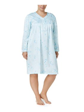 Miss Elaine Woven Satin Nightgown (Blue, 3X)