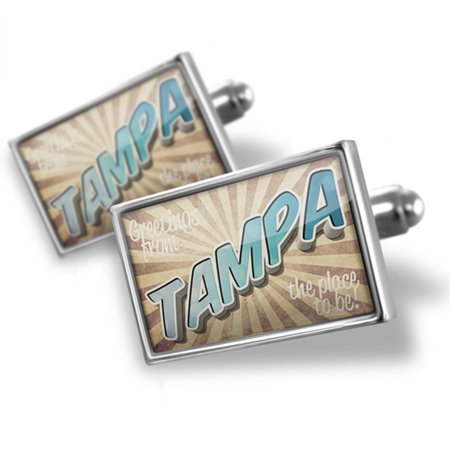 Cufflinks Greetings from Tampa, Vintage Postcard - NEONBLOND