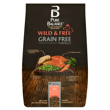 Pure Balance Wild & Free Grain Free Formula Salmon & Pea Recipe Food for Dogs, 24 (Best Dog Food For Shedding Problems)