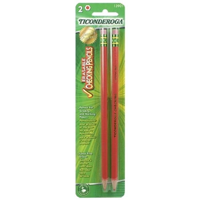 Dixon Ticonderoga 2 Count Red Erasable Checking Pencils  13901 - Pack of 12