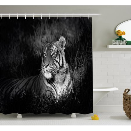 Black And White Decorations Shower Curtain Bengal Tiger Lying In Grass Africa Savannah Monochrome Image
