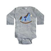 Inktastic Rocking Horse Baby Boy Newborn Long Sleeve Bodysuit Male Heather Newborn