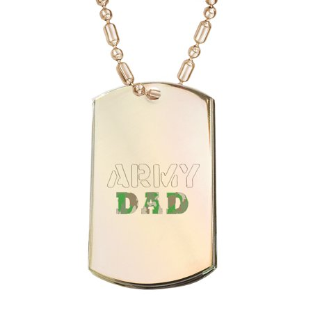 KuzmarK Gold Pendant Dog Tag Necklace - Army Dad Camouflage Gold Dog Tag Necklace (Gold Dog Tag Necklace)