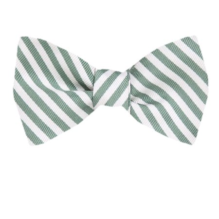 Men's Green Silk Stripes Self Tie Bowtie Tie Yourself Bow Ties (Green Bow Ties)