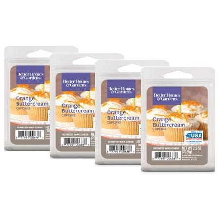 Better Homes & Gardens 2.5 oz Orange Buttercream Cupcake Scented Wax Melts, 4-Pack