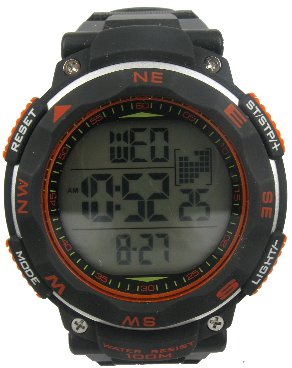 Ozark Trail Black Digital Watch with black dial and orange accents