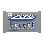 Zero Peanut & Almond Nougat White Fudge Caramel Candy Bars, 1.85 Oz., 6 Count