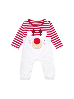b15eec1bb7ed Product Image Mosunx Toddler Infant Baby Boys Girls Christmas Deer Striped  Romper Jumpsuit Outfits