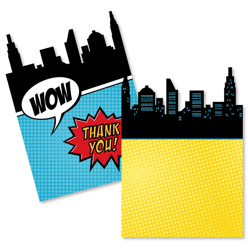 BAM! Superhero - Shaped Thank You Cards - Baby Shower or Birthday Party Thank You Note Cards with Envelopes - Set of 12