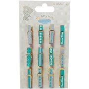 Tiny Tatty Teddy Mini Pegs 12/Pkg-Boy, Assorted Color Clothespins