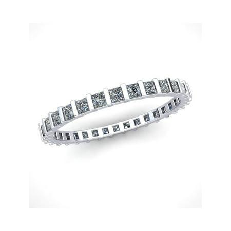 Natural 1.00Ct Princess Cut Diamond Bar Set Women's Anniversary Wedding Eternity Band Ring Solid 10k White Gold I -