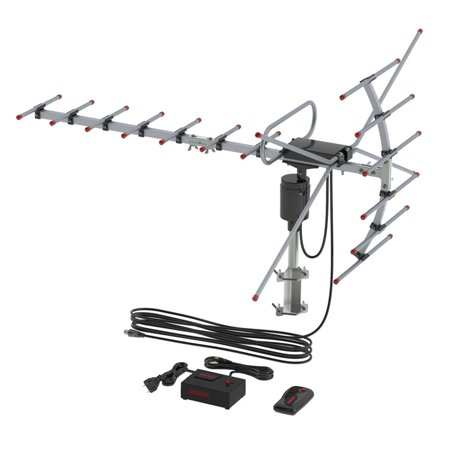 Outdoor Amplified Digital HDTV Antenna - 110 Mile Range -360? Rotation - 26FT Wire - Wireless Remote Control - UHF/VHF 4K 1080P