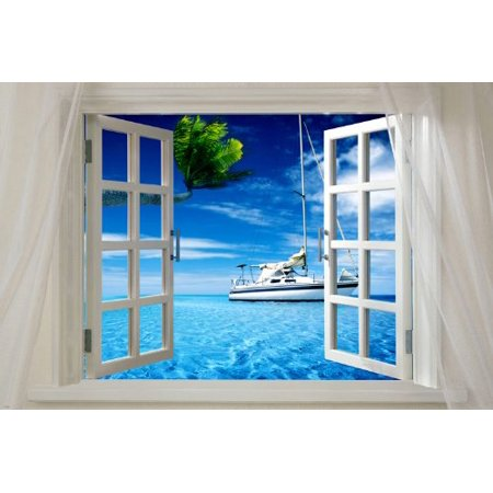 Window Onto Ocean With Boat Scenic Poster 24X36 Sails Palm Trees