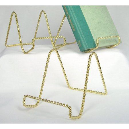 Ornate Brass Easel (Wire Easel Display Stand - Twisted Brass Metal - 4 Inch - Pack of 3, By Banberry Designs Ship from US )