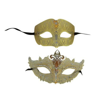 Gold Crown Man Woman Couples Laser Cut Venetian Masquerade Metal Masks](Masquerade Masks Male)