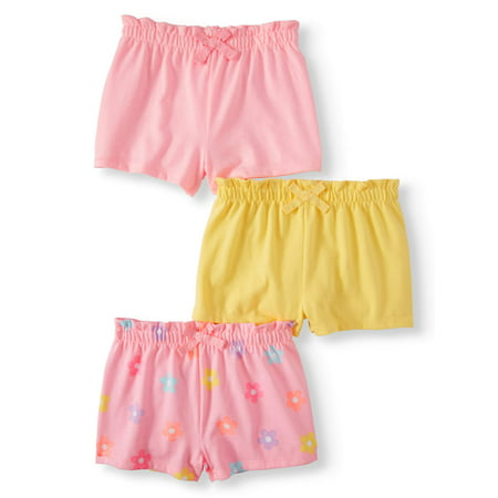 Garanimals Baby Girl Solid & Print Knit Shorts with Bow, 3pc Multi-Pack (Garanimals Clothes)